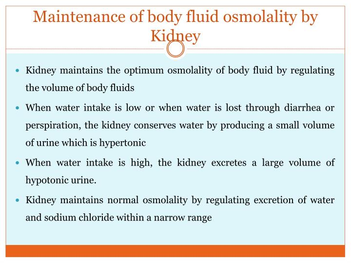 Maintenance of body fluid