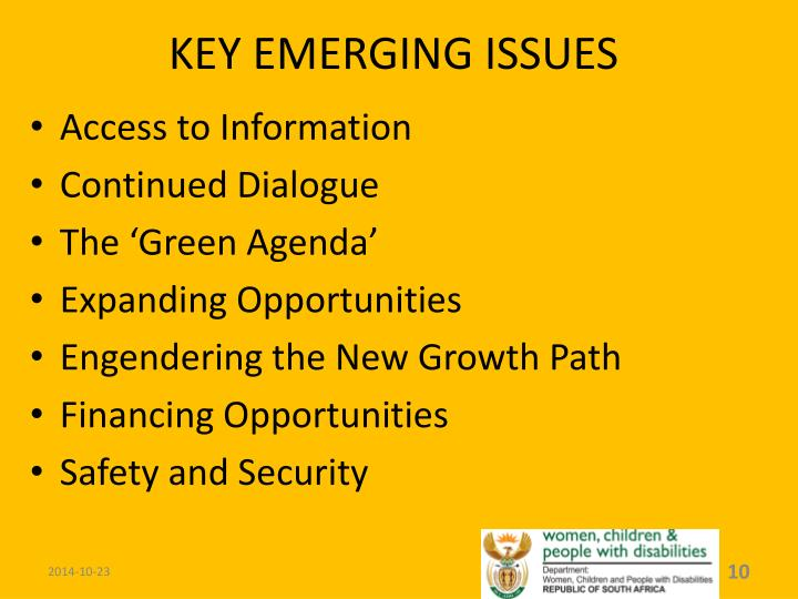 KEY EMERGING ISSUES