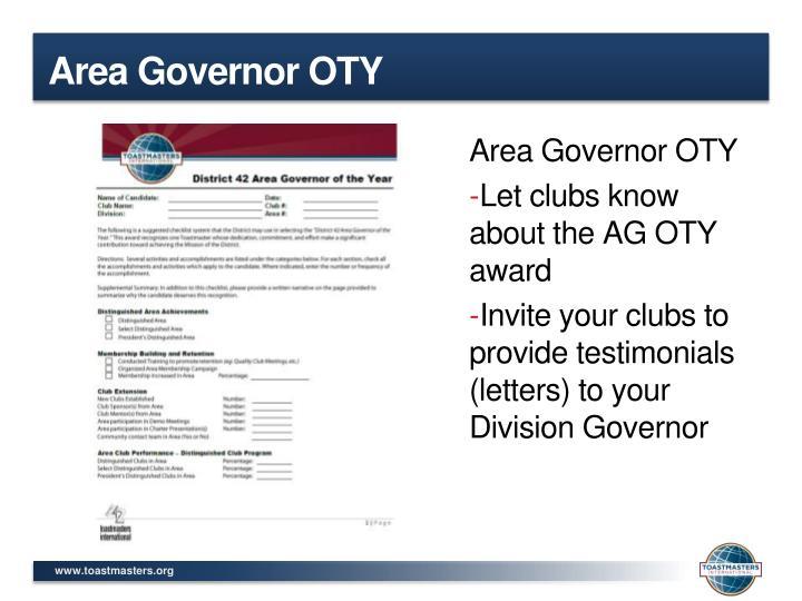 Area Governor OTY