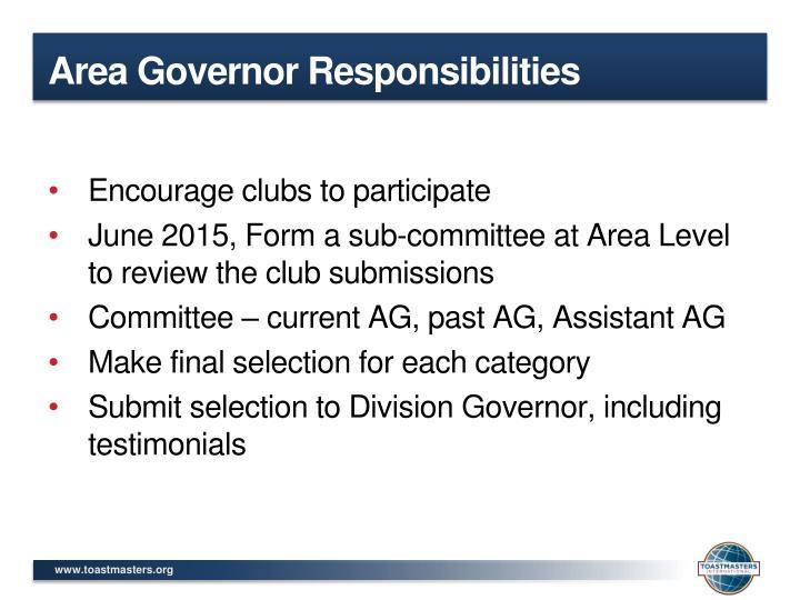 Area Governor Responsibilities