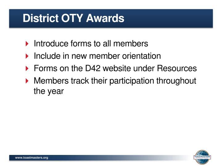 District OTY Awards