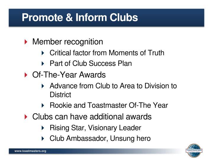 Promote & Inform Clubs