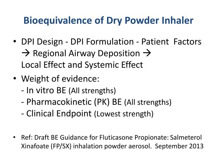 Bioequivalence of Dry Powder Inhaler
