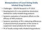 bioequivalence of local acting orally inhaled drug products