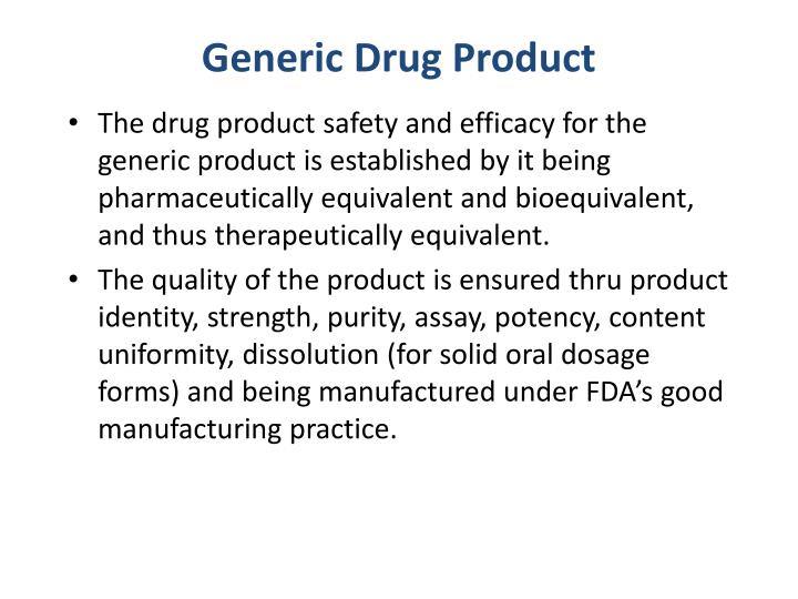 Generic drug product