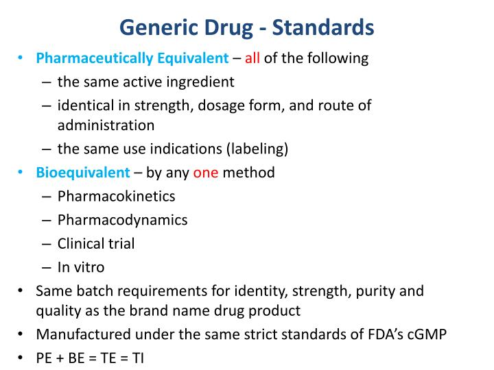 Generic drug standards