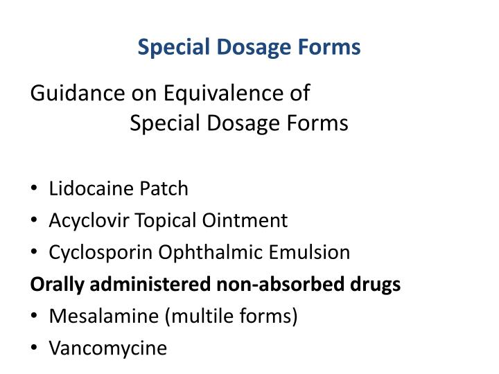 Special Dosage Forms