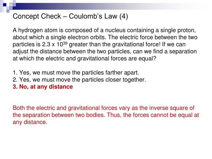 Concept Check – Coulomb's Law (4)