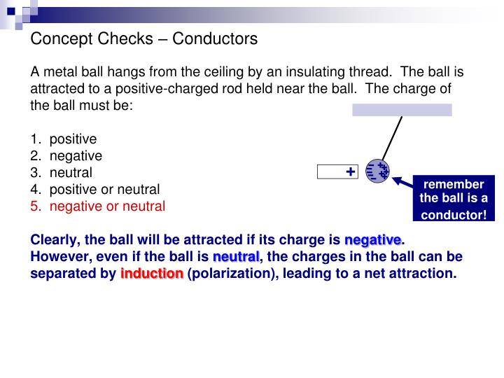 remember the ball is a conductor!