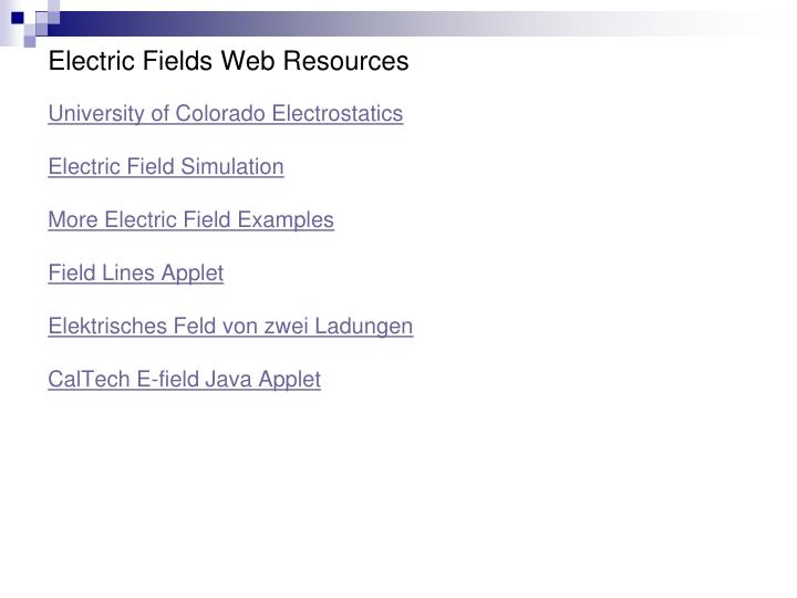 Electric Fields Web Resources