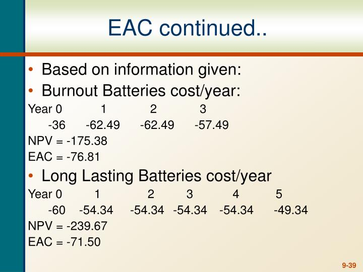 EAC continued..