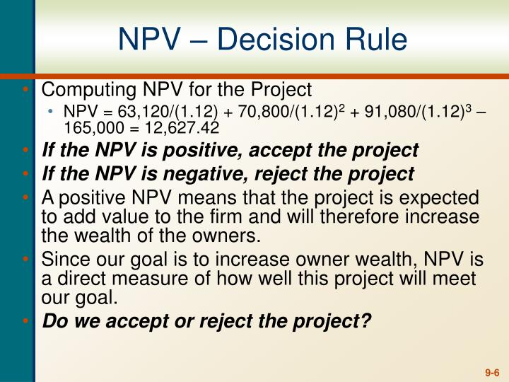 NPV – Decision Rule