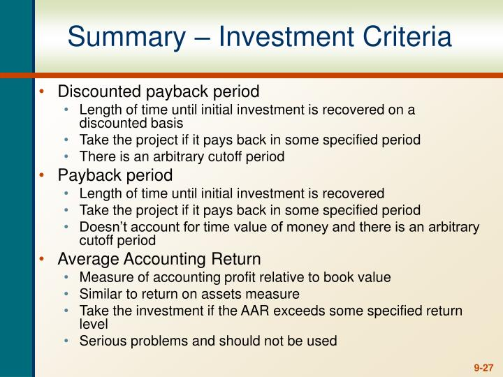 Summary – Investment Criteria