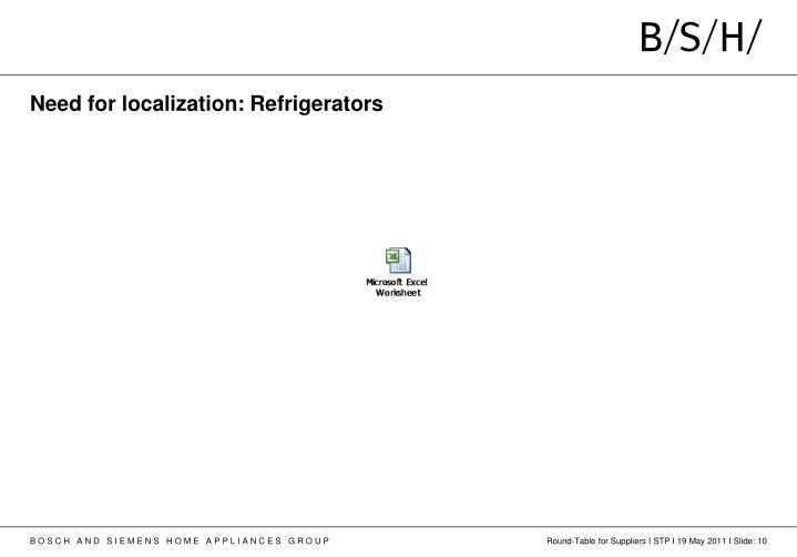 Need for localization: Refrigerators