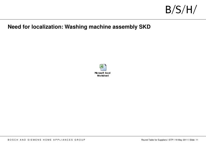 Need for localization: Washing machine assembly SKD