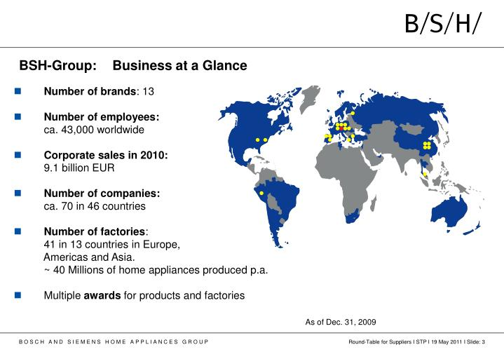 BSH-Group: Business at a Glance