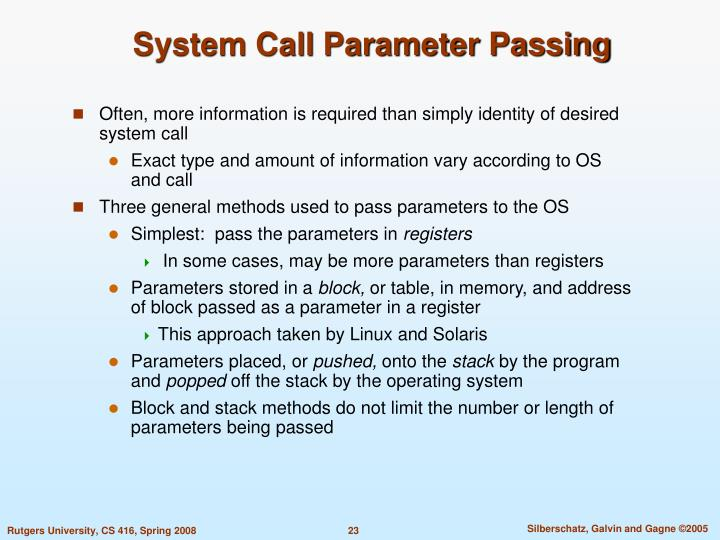 System Call Parameter Passing