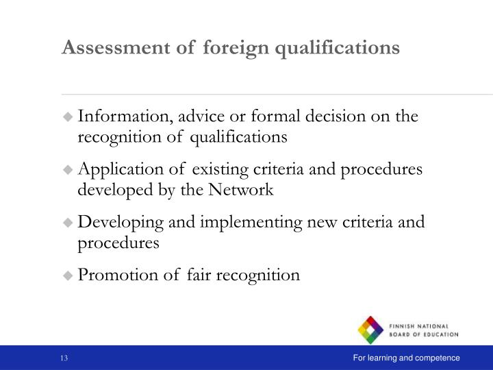 Assessment of foreign qualifications