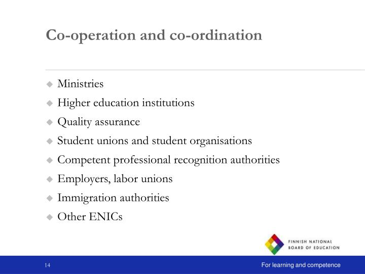 Co-operation and co-ordination
