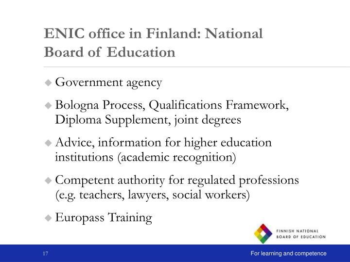 ENIC office in Finland: National Board of Education