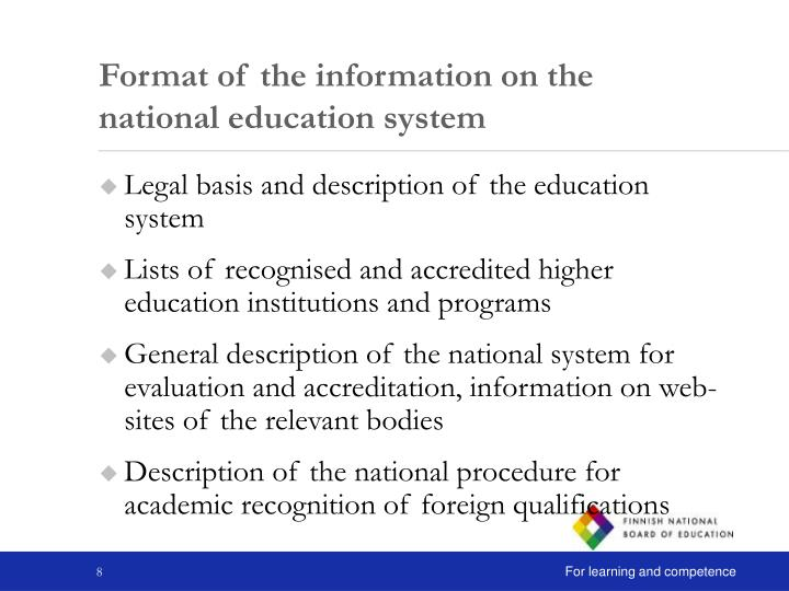Format of the information on the national education system