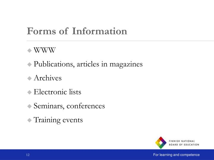 Forms of Information