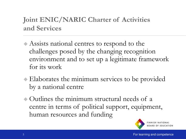 Joint ENIC/NARIC Charter of Activities and Services
