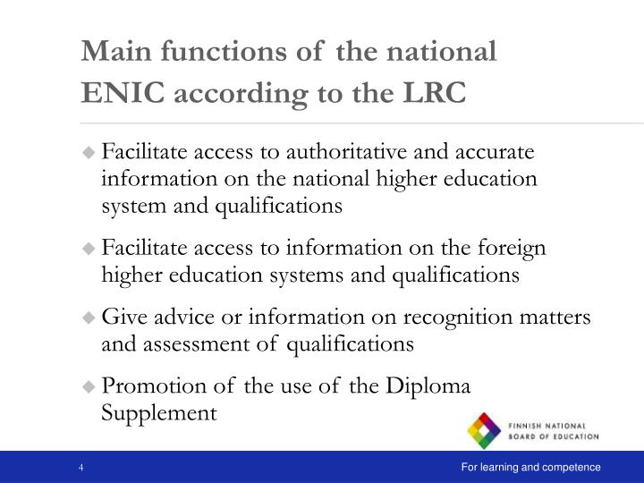 Main functions of the national ENIC according to the LRC