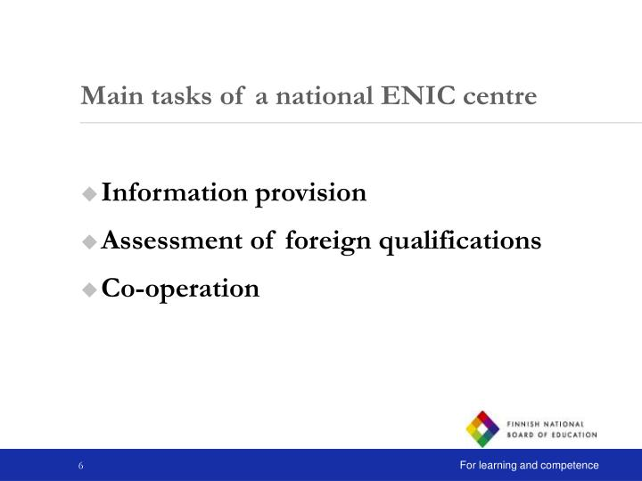 Main tasks of a national ENIC centre