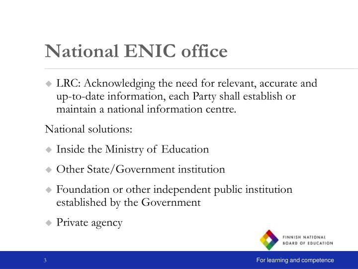 National enic office