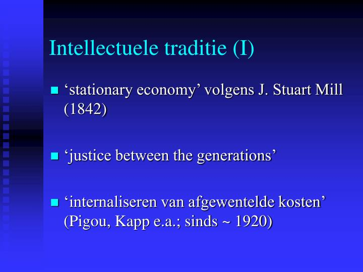 Intellectuele traditie (I)