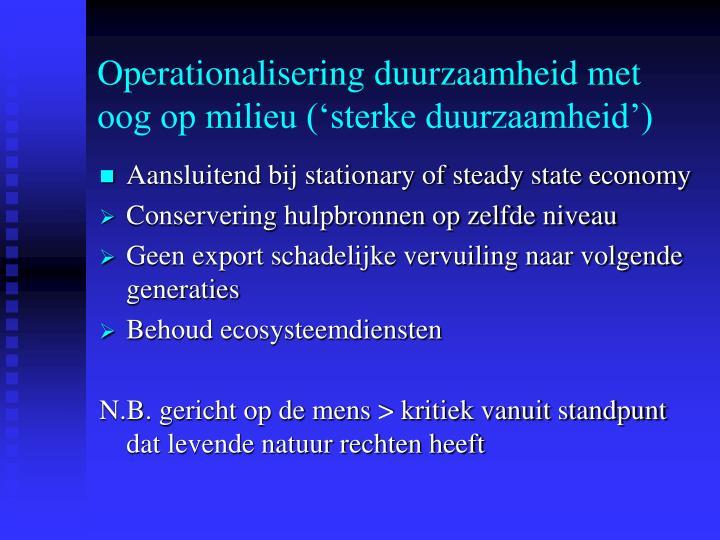 Operationalisering duurzaamheid met oog op milieu ('sterke duurzaamheid')
