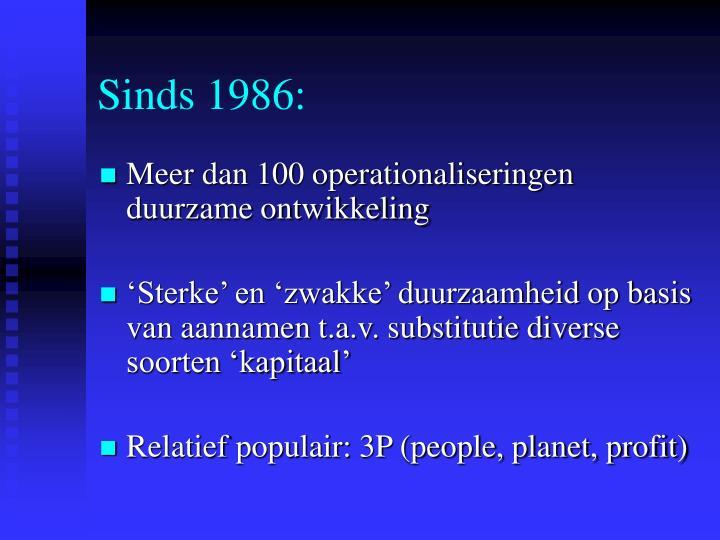 Sinds 1986:
