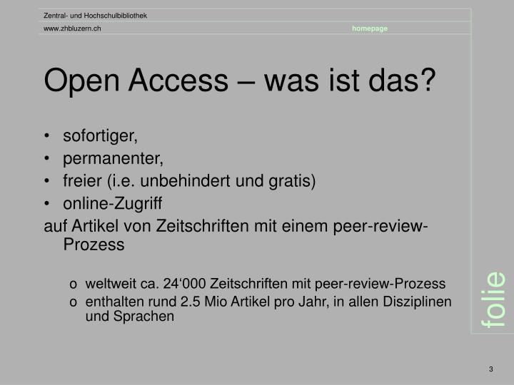 Open Access – was ist das?