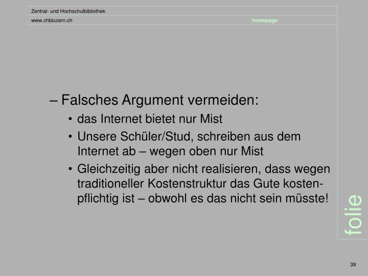 Falsches Argument vermeiden:
