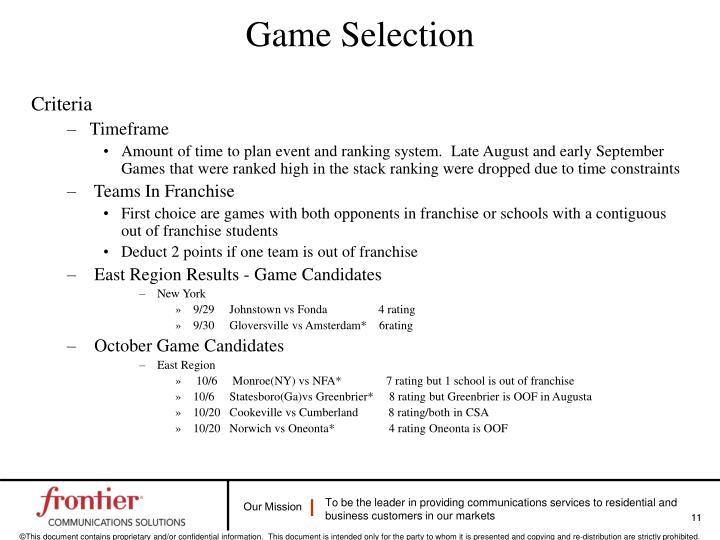 Game Selection