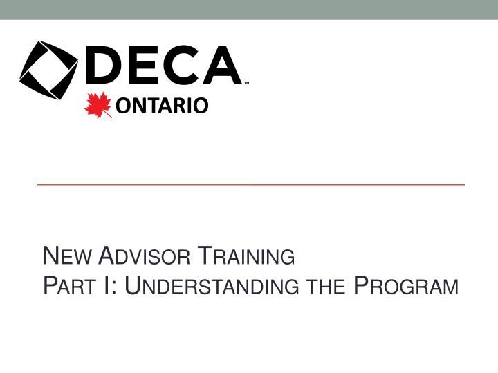 New Advisor Training