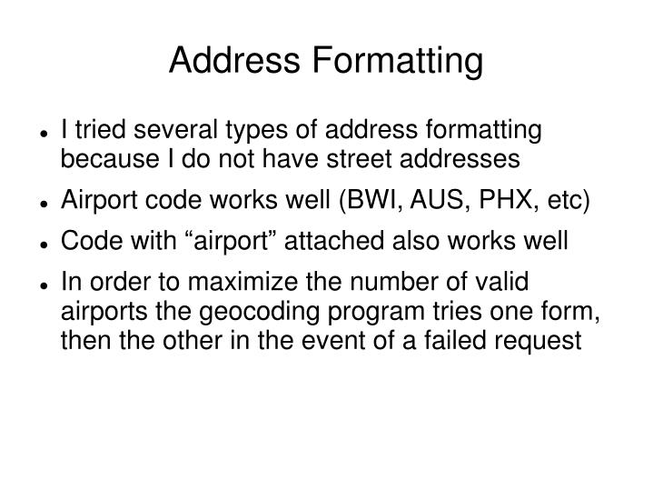 Address Formatting