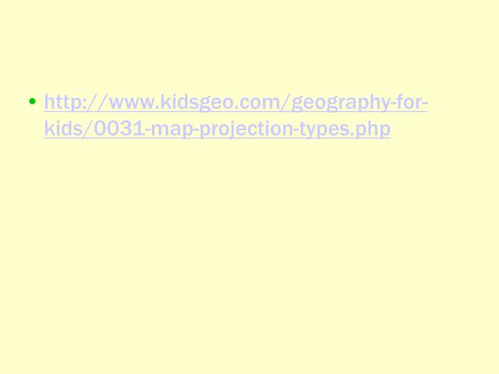 http://www.kidsgeo.com/geography-for-kids/0031-map-projection-types.php