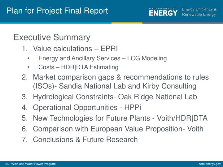 Plan for Project Final Report