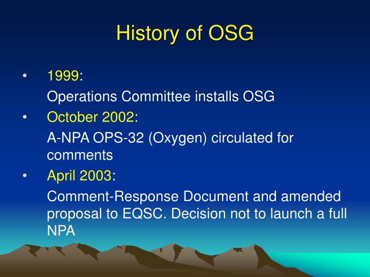 History of osg