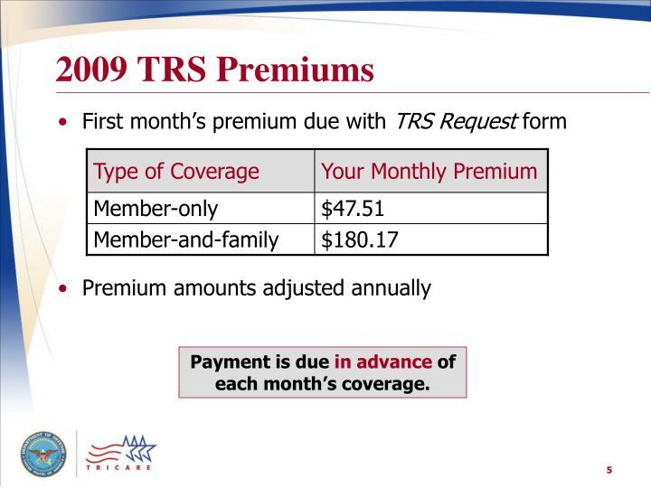 2009 TRS Premiums