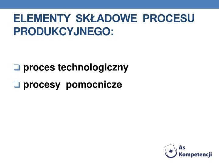 Elementy  składowe  procesu  produkcyjnego: