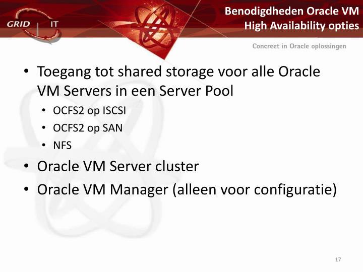 Benodigdheden Oracle VM
