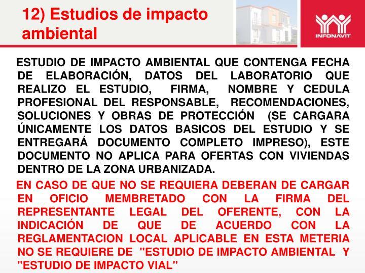12) Estudios de impacto ambiental