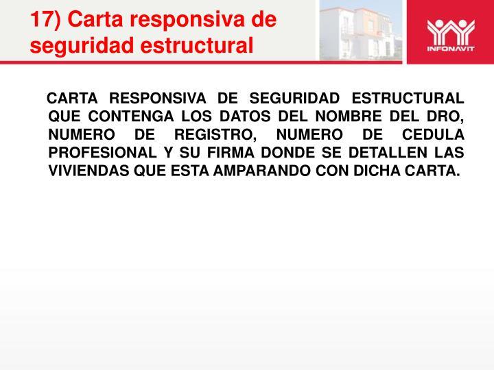 17) Carta responsiva de seguridad estructural
