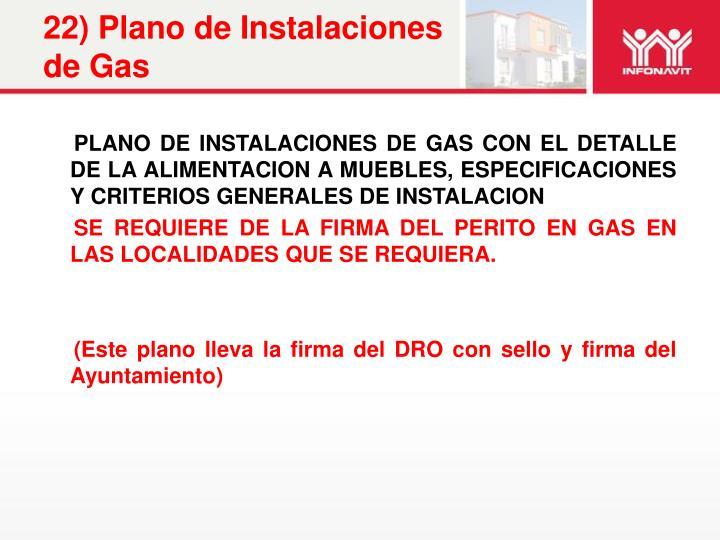 22) Plano de Instalaciones de Gas