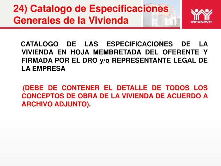 24) Catalogo de Especificaciones Generales de la Vivienda