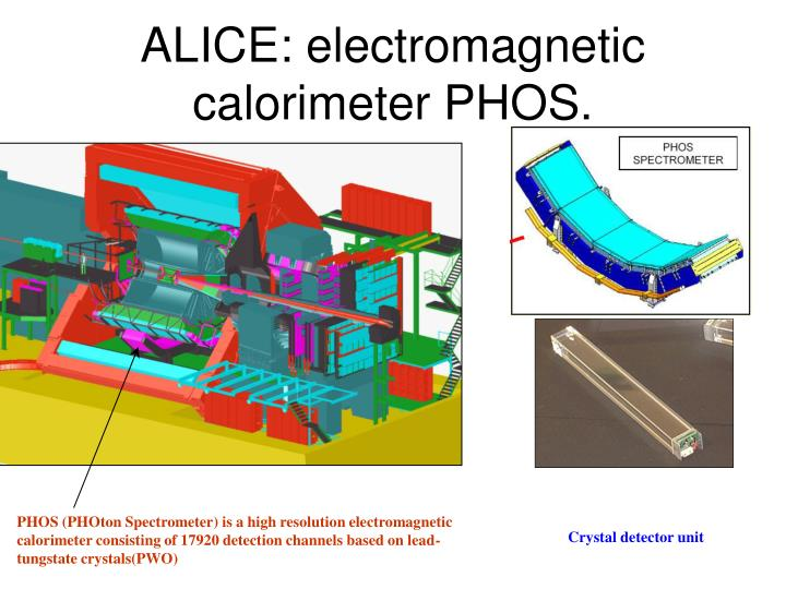 PHOS (PHOton Spectrometer) is a high resolution electromagnetic calorimeter consisting of 17920 detection channels based on lead-tungstate crystals(PWO)