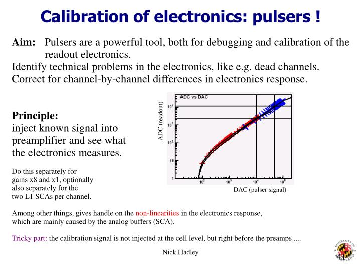 Calibration of electronics: pulsers !